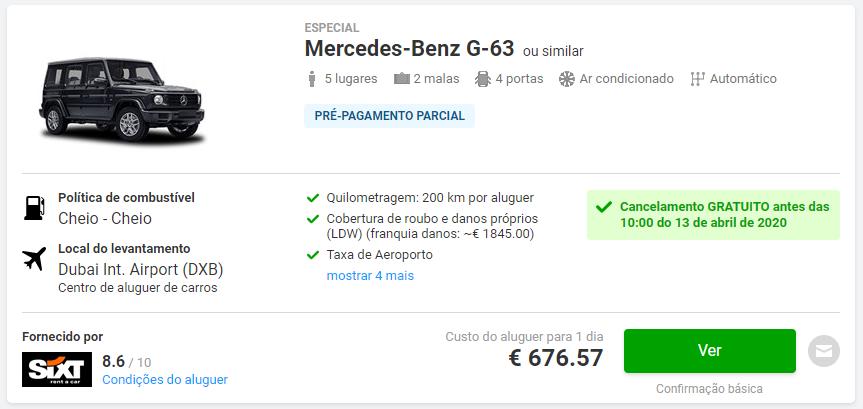 Alugar Jipe Mercedes G63 no Dubai