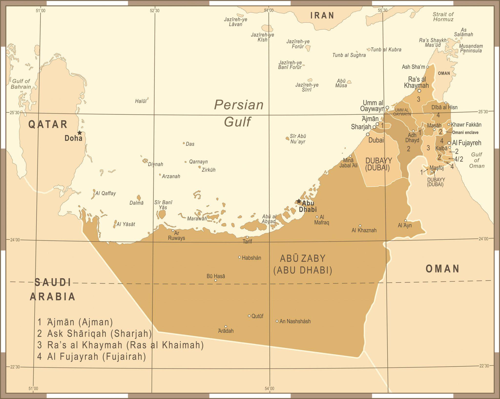 Emirados Arabes Mapa